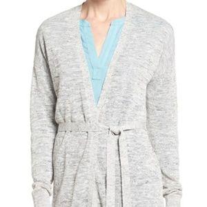 HALOGEN Long Belted Linen Blend Cardigan